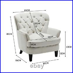 Retro Fabric Upholstered Studded Armchair Deep Buttoned Wing Back Sofa Chair