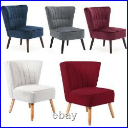 Retro Stylish Chair Occasional Wing Back Accent Armchair Lounge Fabric or Velvet
