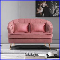 Scallop Back Pink Velvet Sofa 2 Seater Loveseat Couch Settee Wing Back Tub Chair