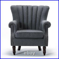 Scallop Wing Back Armchair Queen Anne Chair Living Room Bedroom Lounge Tub Sofa