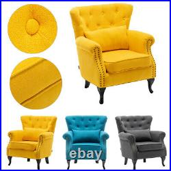 Scalloped Button Wing Back Chair Cocktail Chesterfield Sofa Armchair Lounge Seat