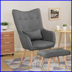 Scandinavian Style Accent Armchair Curved Wing Back Lounge Tub Chair withFootstool