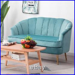 Small 2 Seater Sofa Living Room Couch Settee Shell Wing Chair Armchair Gold Legs