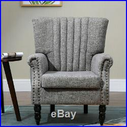 Soft Grey Armchair Wing Back Fabric Sofa Chair Padded Seater Lounge Living Room