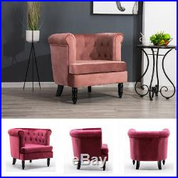 Studs Linen Wing Back Lounge Occasional Accent Chair Fabric Tub Armchair Sofa UK