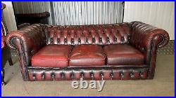 Stunning 3 seater leather chesterfield sofa with matching wing back chair