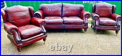 Stunning Thomas Lloyd Oxblood Leather Chesterfield 3 Piece Sofa 2 Wing Chairs