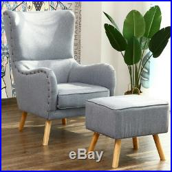 Style In Chesterfield Armchair Linen Fabric Wing Chair Sofa with Stool Pillow Grey