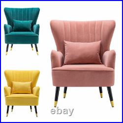 Stylish Velvet Oyster Chair Scallop Shell Armchair Wing Back Bedroom Lounge Sofa
