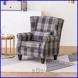 Tartan Checked Fabric Recliner Chair Sofa Wing Back Fireside Armchair Occasional