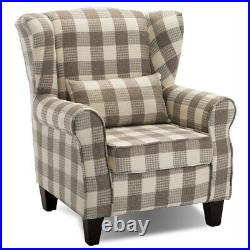 Tartan Checked Fabric Single Sofa Wing Back Fireside Armchair Occasional Chair