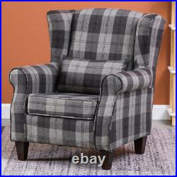Tartan Checked Linen Chesterfield Armchair High Wing Back Sofa Chair Accent Seat