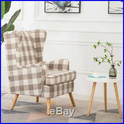 Tartan Checked Wing Back Occasional Chair Fabric Fireside Lounge Sofa Armchair