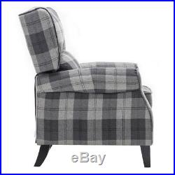 Tartan Recliner Fabric Armchair Home Lounge Sofa Pushback Winged Back Chair Gray