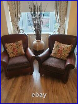 Tetrad Degas large 4 seater leather and chenile sofa couch & 2 wing back chairs