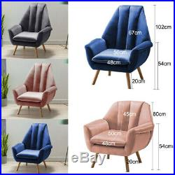 Tulip Shape Wing Back Occasional Lounge Chair Tub Armchair Fireside Seat Sofa UK
