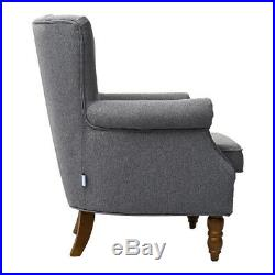 UK Chesterfield Wing Back Single Sofas Linen Fabric Chair Upholstered Armchair
