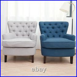 UK Studs Wing Back Lounge Occasional Accent Chair Fabric Tub Armchair Sofa Large