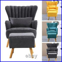 Upholstered Armchair Tub Chair Fabric Wing Back Lounge Sofa Seat with Footstool