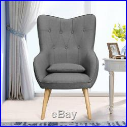 Upholstered Button High Back Wing Chair Cocktail Sofa Armchair Fabric Wingback
