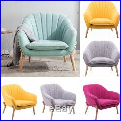 Upholstered Chenille Fabric Scallop Wing Back Armchair Tub Chair Sofa Occasional