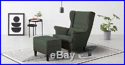 Upholstered Emerald Green Fabric Armchair with Foot Stool Suite Sofa Wing Chair