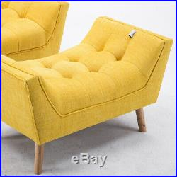 Upholstered Fabric Armchair Wing Back Fireside Chair Lounge Sofa with Footstool
