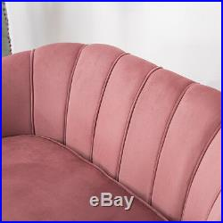 Upholstered Fabric Velvet 2 Seater Sofa Curved/Wing Back Settee Chair w Cushiuon