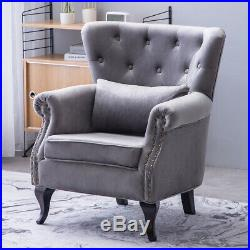 Upholstered High Back Chair Velvet Armchair Winged Scroll Arm Studded Sofa Seat