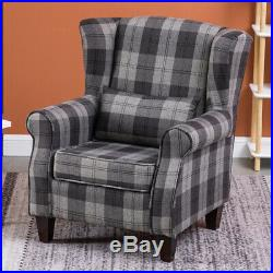 Upholstered High Back Wing Chair Tartan Check Fabric Armchair Fireside Sofa Seat