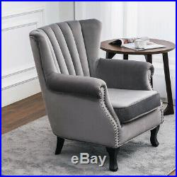 Upholstered High Wingback Chair Oyster Wing Armchair Sofa Queen Anne Velvet Seat