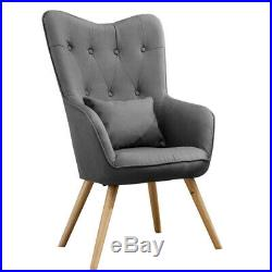 Upholstered Linen Fabric Winged Chair Armchair Button Cocktail Lounge Grey Sofa