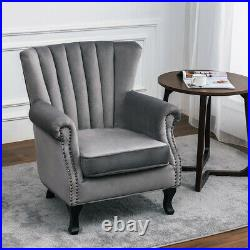 Upholstered Luxury Velevt Grey Wing High Back Armchair Leisure Seat Sofa Chair