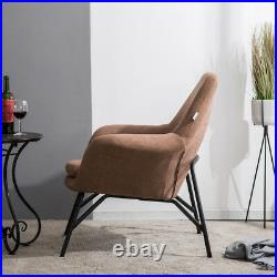 Upholstered Nordic Iron Frame Luxury Soft Fabric Armchair Wing Back Chair Sofa