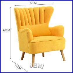 Upholstered Oyster Shell Scalloped Wing Back Chair Armchair Lounge Sofa Fabric