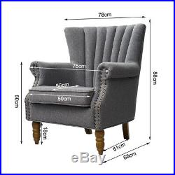 Upholstered Oyster Wing Back Armchair Scalloped Chair Nailhead Fabric Sofa Seat