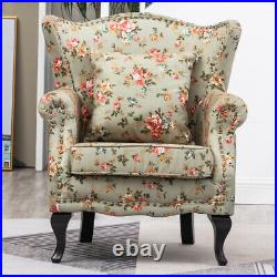 Upholstered Peony Flower Fabric High Back Armchair Queen Anne Winged Chair Sofa