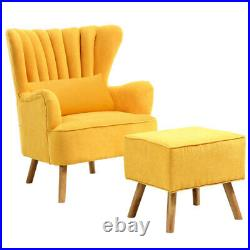 Upholstered Scallop Winged Armchair Charcoal Yellow Chair Sofa Fireside with Stool
