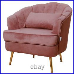 Upholstered Scalloped Wing Back Chair Armchair Sofa Oyster Velvet Gray-Pink Seat