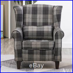 Upholstered Tartan Check Fabric High Back Wing Back Chair Armchair Fireside Sofa