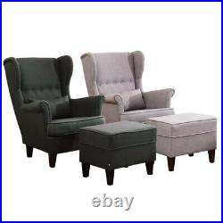 Upholstered Tufted Button Accent Wing High Back Armchair Sofa Chair Match Stool