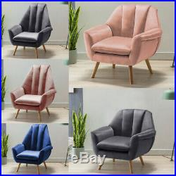Upholstered Tulip Shape Wing Back Lounge Chair Tub Armchair Living Fireside Sofa
