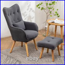 Upholstered Velvet High Back Armchair Sofa Wing Chair with Footstool Lounge Seat
