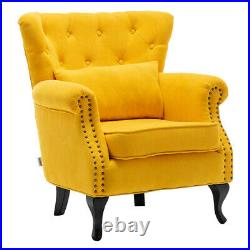 Upholstered Velvet Queen Anne Wing Back Chair Armchair Lounge Sofa Fireside Seat