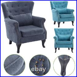 Upholstered Wing Back Chesterfield Sofa Velvet Button Tub Chair Scallop Armchair