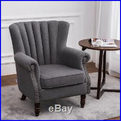 Upholstered Wing Back Oyster Sofa Armchair scallop Shell Back Lounge Tub Chair