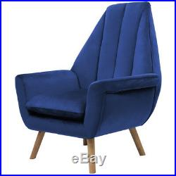 Upholstered Wing High Back Accent Chair Armchair Lounge Sofa Velvet Fabric Blue