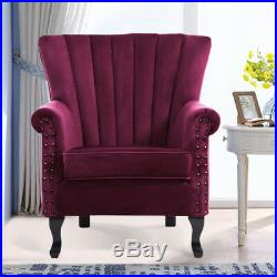 Upholstered Wing High Back Armchair Sofa Chair Velour Fabric Fireside Retro Seat