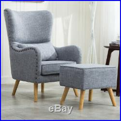 Upholstered Wing High Back Armchair with Footstool Lounge Chair Grey Fabric Sofa