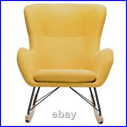 Upholstered Yellow Chenille Fabric Rocking Armchair Wing Back Chair Sofa Lounger